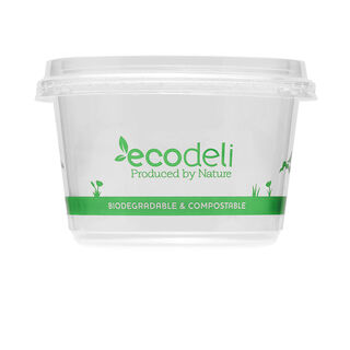 Deli Containers 360ml PLA & Lids - Ecoware - Pack 50