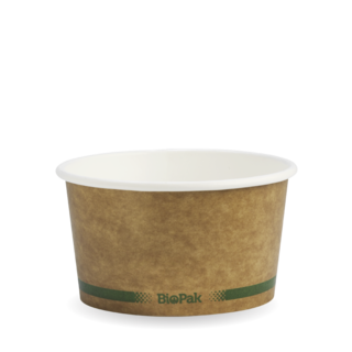 Paper Bowl Hot/Cold 12oz Kraft Green Stripe - BioPak