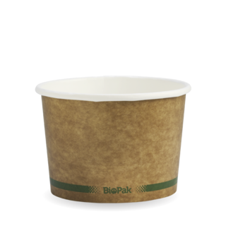 Paper BioBowl Hot/Cold 16oz Kraft Green Stripe - BioPak
