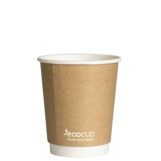Hot Cup PLA Double Wall 8oz 80mm Kraft - Ecoware