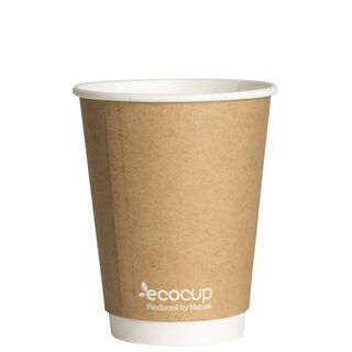 Hot Cup PLA Double Wall 12oz Kraft (90 mm) - Ecoware