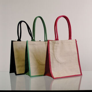 Natural Supermarket Shopper Bag (Black Gusset) - Ecobags