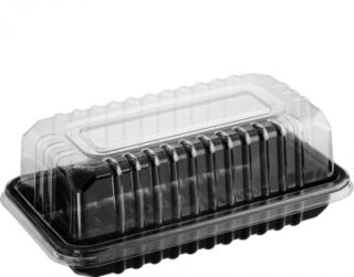 Eco-Smart' Clearview' Bar Cake, Black Base & Clear Lid - Castaway