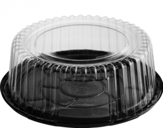Eco-Smart' Clearview' Cake Containers Medium, Black Base & Clear Lid - Castaway