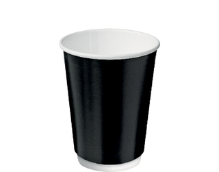 12oz Black Double Wall Paper Hot Cup - Castaway