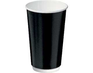 16oz Black Double Wall Paper Hot Cup - Castaway