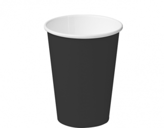12oz Black Single Wall Paper Hot Cup - Castaway
