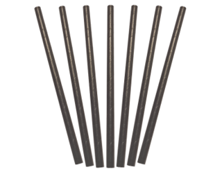 Paper Cocktail Straws, Black (135 x 6 mm) - Castaway