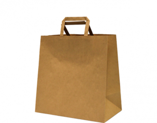 Paper Carry Bag with Flat Paper Handle, Medium, Brown 280W x 280L x 150G - Castaway