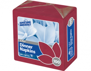 2 Ply Dinner Napkins, Quarter Fold, Wine Red - Castaway