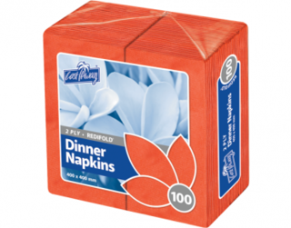 2 Ply Dinner Napkins, RediFold', Red - Castaway