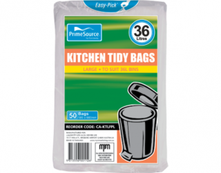 PrimeSource' Large Kitchen Tidy Bags - 36 Litres, Individually Folded - Castaway