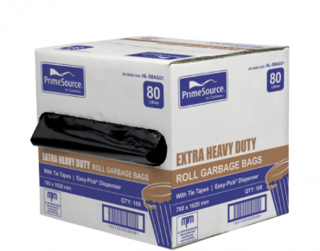 PrimeSource' 80L Extra Heavy Duty Garbage Bags, Perforated Roll - Castaway