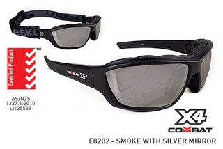 COMBAT X4' Safety spec, Foam seal, Smoke with Silver Mirror Lens - Esko