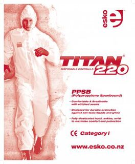 TITAN' '220' Spunbound Polypropylene Coverall, White - Esko
