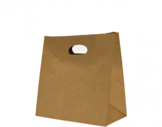 Paper Bag with Die-Cut Handle Brown Medium - Castaway