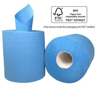 Centre Feed Paper Towel - BLUE,  1 Ply - Matthews