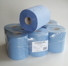 Centrefeed Paper Towels 1ply recycled blue - Coastal