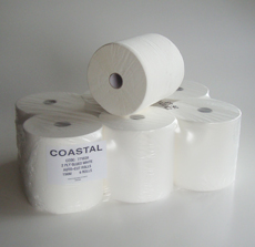Paper towel roll feed white 2ply - Coastal