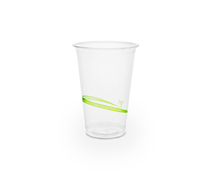Cold Cup PLA Slim 9oz 280ml Green Stripe - Vegware