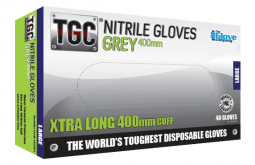 Nitrile Grey Gloves 400mm  PowderFree - TGC