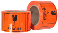 FRAGILE printed labels on a roll (660 labels/roll) - Pomona