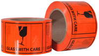 GLASS WITH CARE printed labels on a roll (660 labels/roll) - Pomona