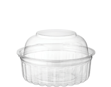 Eco-Smart' Clearview' Food Bowls 8 oz Hinged Dome Lid, Clear - Castaway