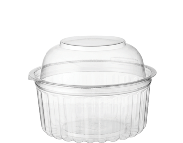 Eco-Smart' Clearview' Food Bowls 12 oz Hinged Dome Lid, Clear - Castaway