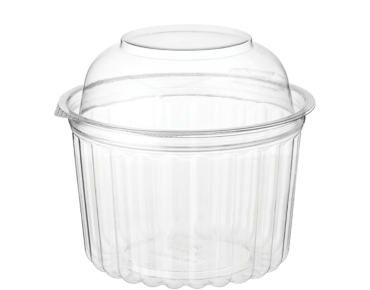 Eco-Smart' Clearview' Food Bowls 16 oz Hinged Dome Lid, Clear - Castaway