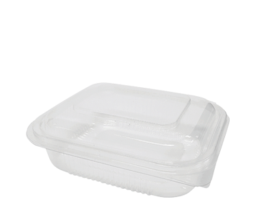Eco-Smart' BettaSeal' Snack Rectangular Container Small, Hinged Dome Lid, Clear - Castaway