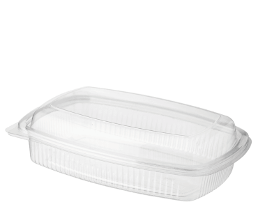 Eco-Smart' BettaSeal' Lunch Rectangular Container Medium, Hinged Dome Lid, Clear - Castaway