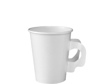 280ml/8oz Single Wall Paper Hot Cup with Handles, White - Castaway