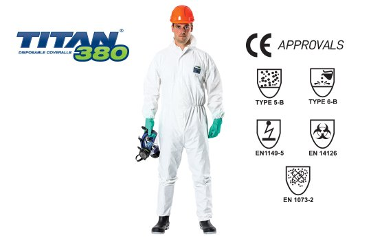 TITAN' '380' BWF Fabric, BioHazard Type 5&6 Coverall - Esko