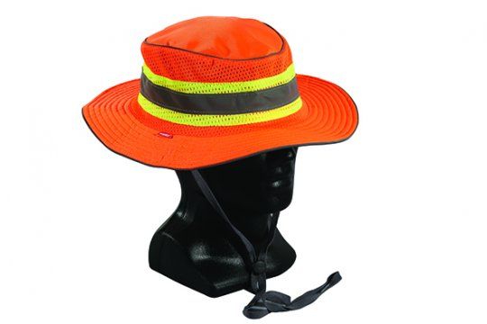 Good2Glow' Hi-Vis Full Brim Safari Hat, Orange L/XL - Esko