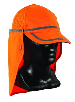 Good2Glow' Hi-Vis Baseball Cap with Neck flap, Orange - Esko