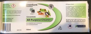 Labels for Green Earth cleaning products